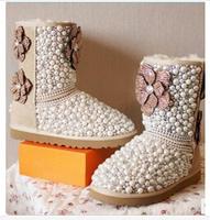 free shipping Fashion Women Brand Winter Beige Real Sheepskin Fur Floral Boots Rhinestone Pearl Flats Shoes