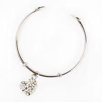 Simple Style Fashion Imitation Diamond Hollow Peach Heart Bracelet For Girl