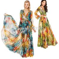 2015 Summer Women Sexy V-Neck Tropical Flower Print Chiffon Long Sleeve Maxi Dress Casual Party Evening Dresses Vestidos YT1065