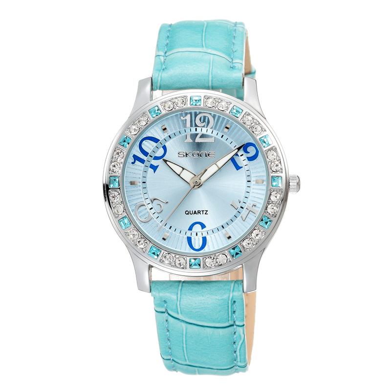 SKONE Brand Women Elegant Style Latest Arrival Leather Wrist Watch Shiny Crystal Decoration Easy Read Personality Wrist Watch(China (Mainland))