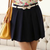 8010 2014 summer women's ol skirt step pleated skirt short skirt bust skirt with belt