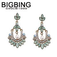BigBing  jewelry fashion crystal pearl earrings earrings dangle earring good quality  nickel free Q676