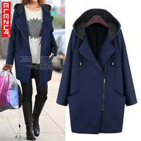 Fat MM Women Winter Coats 2015 , European Station Medium-Long Thicken Hooded Large Size Woolen Overcoat XL-XXXXXL C996-8052