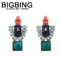 BigBing  jewelry fashion blue crystal earrings earrings dangle earring good quality  nickel free Q689