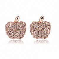 Apple Stud Earrings Fashion 18K Rose  Gold Plate Austrian Crystal SWA Element Earring 13*15mm ER0053-A