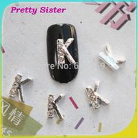 100pcs of New Arrive Letter K 3D nails art design DIY decorations for nails Professional nail art supplier wholesale