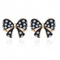 Black Enamel Bowknot Stud Earrings 18K Rose Gold Plate Austrian Crystal Earrings For Women 17*21mm ER0079-A