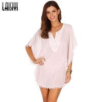 American Apparel Casual Summer Women Dress Fashion Printed Batwing Sleeve Asymmetrical Tassel Chiffon Bandage Dresses DR1039