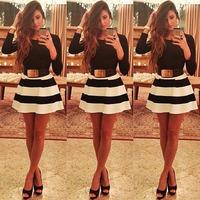 New Cute mini a line Casual dresses Black White Striped dresse women Long Sleeve striped dress 2014 winter autumn dress vestidos