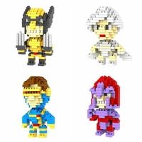 6pcs/lot LOZ X-men Diamond Granule Blocks Builing Bricks Educational DIY Set Toys for Children Gift Wolverine Storm Magneto