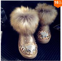 Diamond pearl snow boots fashion 2015 waterproof rhinestone boots free shipping