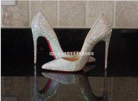 Fashion designer rhinestone crystal diamond red sole high heels bridal wedding shoes 2014 women pointed silver pump 10cm heel