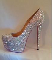 2014 women Rhinestone high platform wedding pumps red bottom high heels shoes shinning crystal 15cm elegant bride pumps onsales