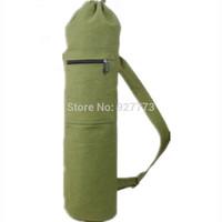 Yoga & Pilates Mat Bag Natural Canvas/ Navy Blue  Large NEW