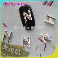 100pcs of New Arrive Letter N 3D Letter design nail art decorations Professional nail art supplier wholesale