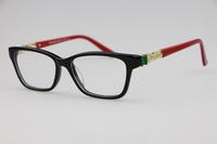 Luxurious inlay Rhinestone Unisex plain mirror 4102 Black frame red legs Sweet style Optical frames