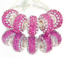 Full Brick 5p 925 Sterling Silver Pink white color Crystal Purple Bead Fit Pandora European Jewelry Bracelets & Necklaces