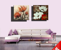 Abstract modern decorative black white red canvas wall art Handmade flower oil painting on canvas for living  room decoration