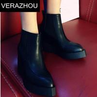 2015 Autumn Winter Ankle boots heels Shoes woman Designer Tip Wedges Fashion Platform Brand Pointed toe wedges Unique