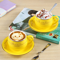 With Continental ceramic coffee cup / high-end creative / Coffee cup + disc + Spoon