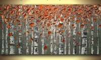 100% Hand Painted Unframed Abstract Flower Painting Contemporary Fine Art textured Modern Palette Knife Painting