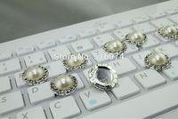 30pcs/lot 18mm Beautiful  ivory Rhinestone pearl Button  Wedding Invitation decoration factory direct big discount ,high quality