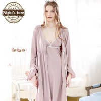 Wire spring and autumn brief cotton royal sleeve cotton elegant lacing fresh lounge robe bathrobes