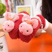 Winter Cute Cartoon Dot Rabbit Gloves Keep-Warm Gloves Student Thicken Gloves