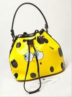 2014 Fashion Women Cute Leather Handbag Yellow SpongeBob Shoulder Bag Girls Moshino Bucket Bag Mos Crossbody Bolsas