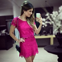 2014 Brand Women Dress Rose Color Lace Stitching Short-sleeved Dress HQ4871