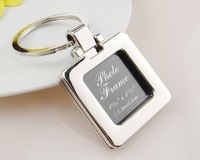 keychain 100pcs/lot zinc-alloy blank frame keychain metal keyring square shaped can be turned cover, diy yourself photo keychain