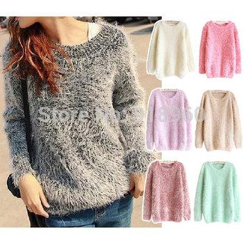Конфеты цвета сладкий женщин свитера / зима женской одежды подражали мохер пуловеры ...