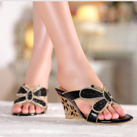 Plus Size Sandals Women Wedges Slides, 2015 New Genuine Leather Beach Slippers , Rhinestone Party  Shoes 33-41