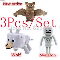 3Pcs/set JJ dolls stuffed plush Toys Minecraft Creeper Wolf Bat Coolie afraid plush toys brinquedos My World Free Shipping