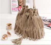 Good quality Simple retro fringed tassel drawstring bucket bag Shoulder Messenger Handbag