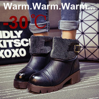 British style 2014 new winter boots for lady women's shoes fur insloe snow boots thick heels,black+brown,size 35-39,keep warm