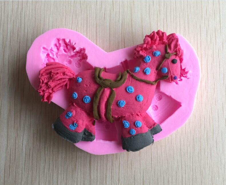 Nova chegada forma cavalo bonito 3D bolo Fondant molde rendas ferramentas para cozinhar F460(China (Mainland))