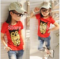 free shipping 2015 summer female child t-shirt girls bronzing owl short sleeve T-shirt  children's clothing wholesale