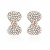 Girls Bowknot Earrings Fashion Crystal Stud Earrings 18K Rose Gold Plate Earring 11*22mm ER0076-A