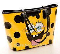 2014 Fashion SpongeBob Shoulder Bag Women Pu leather Handbag Yellow Cute Girls Mos Shopping Bag Free Shipping