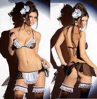 Sex Costume For Women Erotic Sexiest Sexy Lingerie Maid Uniform Underwear Set Sexy Bra & Brief 4PCS fqq009