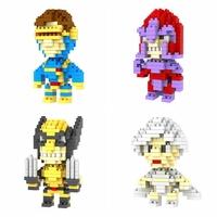 128pcs/lot DHL Free LOZ X-men Diamond Blocks Builing Bricks Educational DIY Set Toys for Children Gift Wolverine Storm Magneto