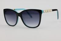 (5 pieces/lot) Plate Frame Unisex Sunglasses TF4107 Cat Eye Fashion wild Black frame Blue Bottom inlay Rhinestone