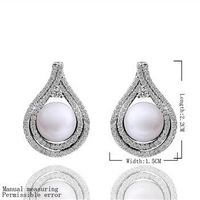 NEW Arrival!! Free Shipping 925 Silver Fashion Jewelry Simple Zircon Pearl Earrings wedding Jewelry Earring Top Quality