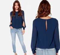 blusas femininas 2015 Women Round Neck Long Sleeve Chiffon Blouse Top Summer Casual Loose Hollow Out Blouse blusa renda
