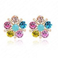 High Quality 18K  Gold Plate Austrian Crystal SWA Element Flower Earrings Stud Earrings 20*20mm ER0078-C
