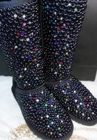 Women fashion brand winter sheepskin coat with Fur Full colorful pearl diamond Snow Boots