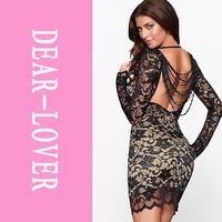 vestido de renda Winter 2014 Long Sleeve Thrilling Beaded Lace Party Dress LC2783 saias curtas femininas women casual work wear
