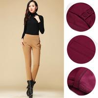 Women's Woman Cotton Long Pants Casual Loose Thin Trousers Long Plus thick velvet Warm Buttons Harem Pants OL Pencil Pants