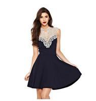 vestidos femininos 2015 Women Deep V-Neck Patchwork Lace Black Party Dress Summer Sexy Sleeveless Casual Dress Plus Size